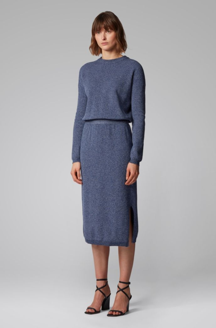 Crew-neck knitted dress in mouliné cotton