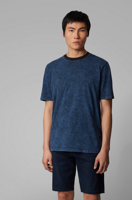 Relaxed-fit T-shirt in cotton with acid-wash finish, Dark Blue