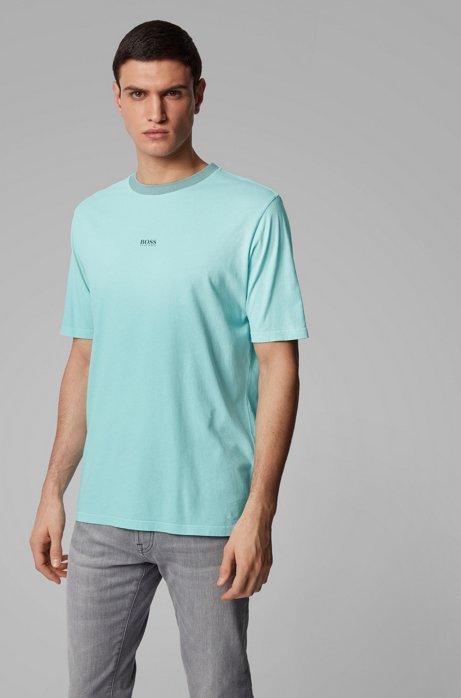 T-shirt en coton Relaxed Fit à la finition délavée à l'acide, Turquoise
