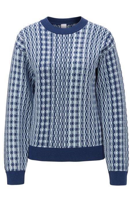 Pull jacquard à monogramme, en coton et soie, Bleu foncé