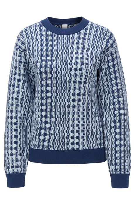 Jersey con monograma de jacquard en algodón con seda, Azul oscuro