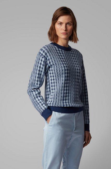 Monogram-jacquard sweater in cotton with silk, Dark Blue