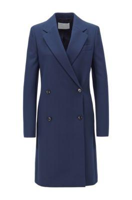 Zweireihiger Regular-Fit Mantel aus Stretch-Twill mit fallendem Revers, Hellblau