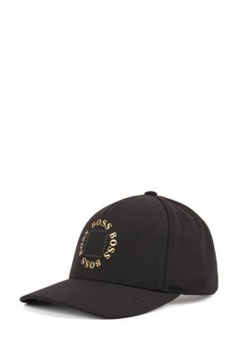 Stretch-canvas cap with metallic logo, Black