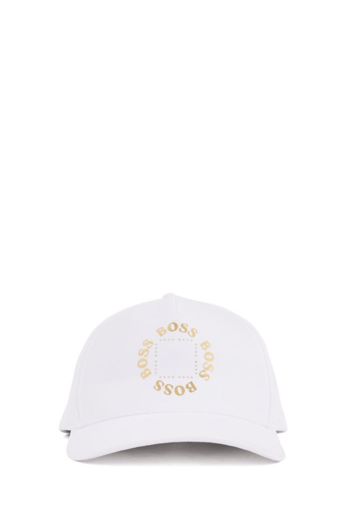 Stretch-canvas cap with metallic logo