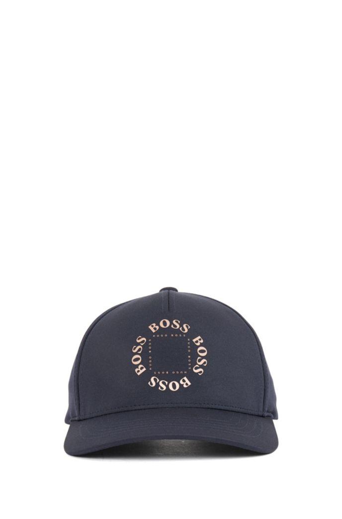 Stretch-canvas cap with metallic logo