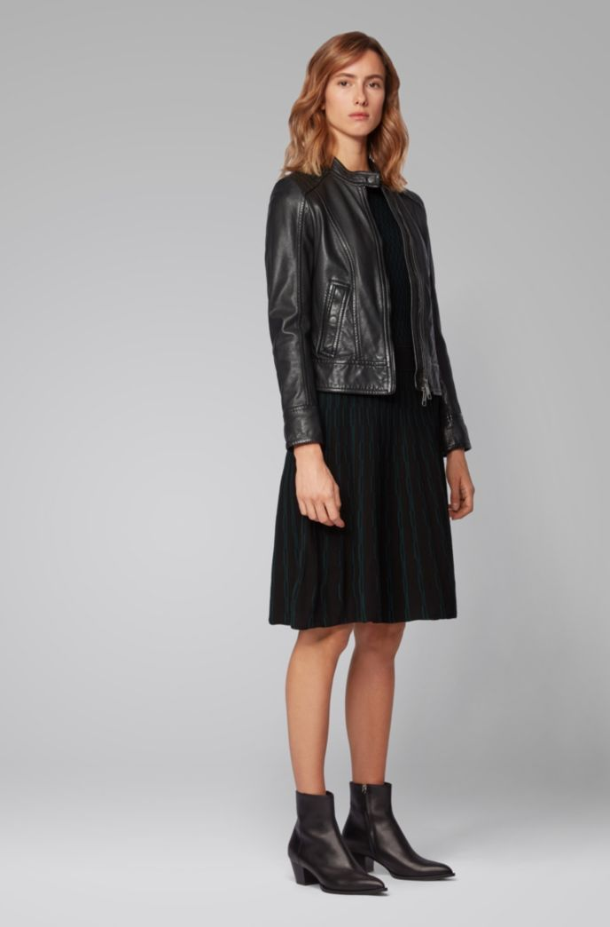 Biker jacket in structured nappa leather