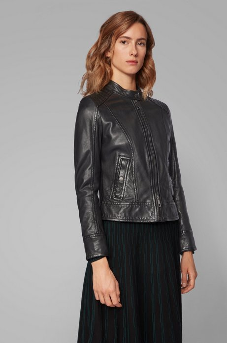 Biker jacket in structured nappa leather, Black