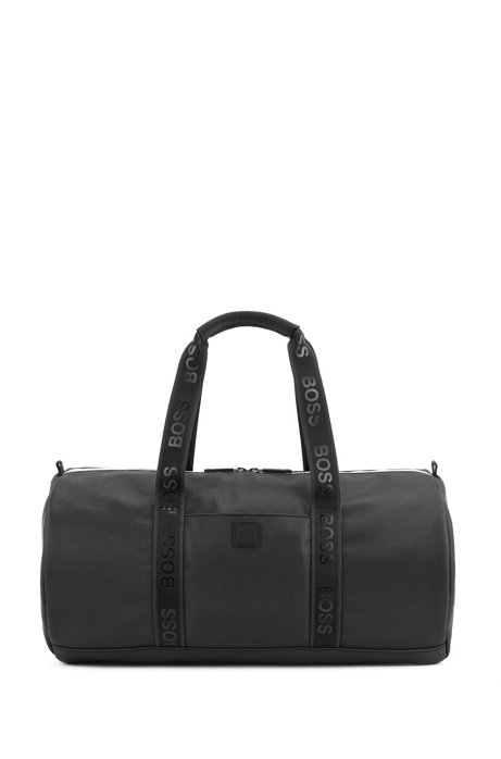 Holdall in pebble-print fabric with logo straps, Black