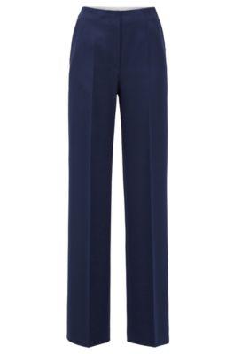 Regular-Fit Hose aus portugiesischem Twill mit hohem Bund und weitem Beinverlauf, Blau