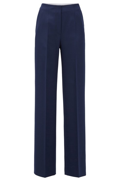 High-waisted wide-leg trousers in Portuguese twill, Blue