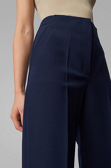 女士斜纹高腰阔腿裤,  466_淡蓝色