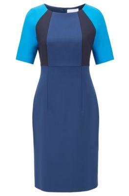 Vestido recto de tejido elástico con bloques de color, Azul oscuro