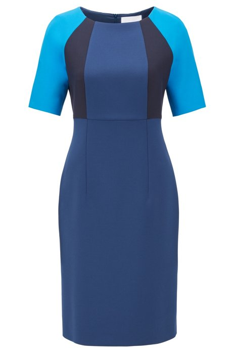 Shift dress in stretch fabric with colour-blocking, Dark Blue