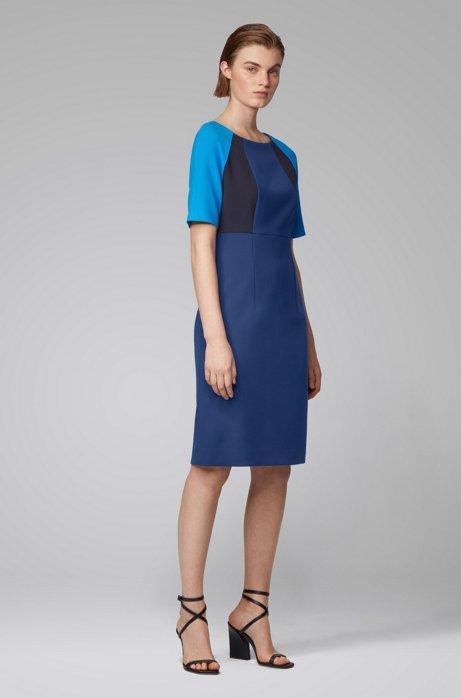Robe droite en tissu stretch à effet color block, Bleu foncé