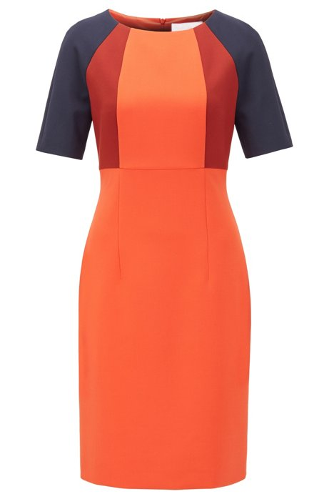 Shift dress in stretch fabric with colour-blocking, Orange