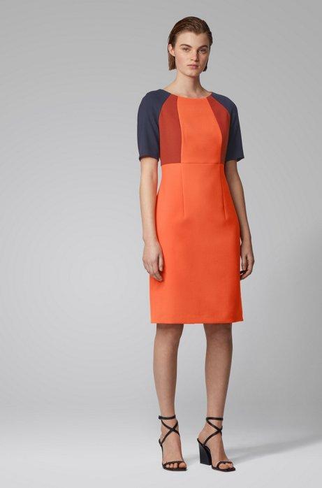 Etuikleid aus Stretch-Gewebe in Colour-Block-Optik, Orange