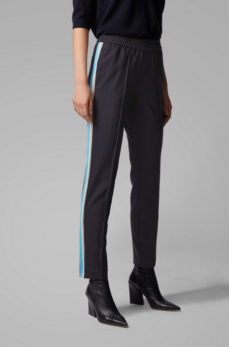 Relaxed-fit trousers in stretch crepe with side stripe, Dark Blue