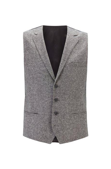 Slim-fit waistcoat in a wool blend , Grey