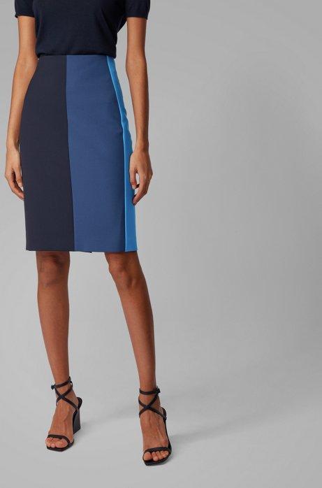Regular-fit pencil skirt in Portuguese fabric, Blue