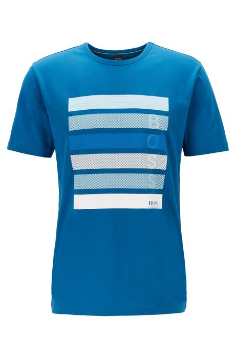 T-shirt van katoenen jersey met logo-artwork in color-blocking, Blauw