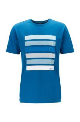 T-shirt van katoenen jersey met logo-artwork in color-blocking, Blauw