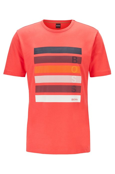 Cotton-jersey T-shirt with colour-block logo artwork, Red
