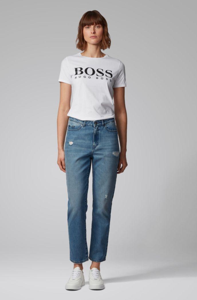 T-shirt in jersey di cotone con logo a stampa mista