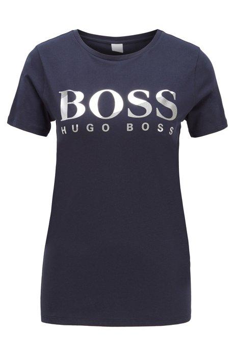 T-Shirt aus Baumwoll-Jersey mit Logo aus Print-Mix, Hellblau