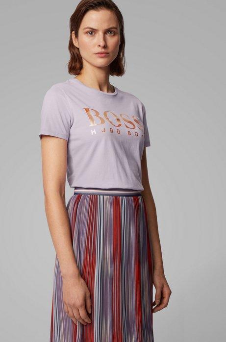 Cotton-jersey T-shirt with mixed-print logo, Light Purple