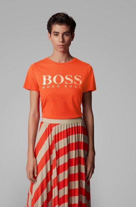 T-shirt in jersey di cotone con logo a stampa mista, Arancione