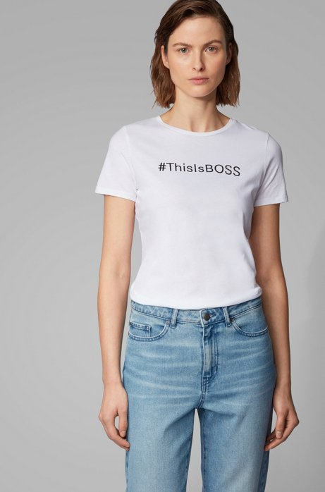 Cotton-jersey T-shirt with hashtag slogan, White