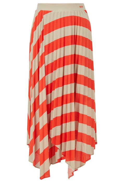 Plissé skirt with handkerchief hem and diagonal stripe, Orange