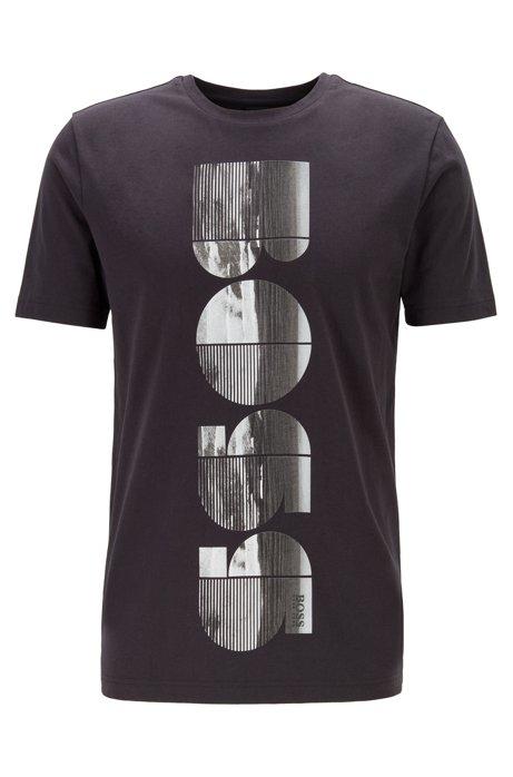 T-shirt à col rond avec illustration logo photographique, Noir