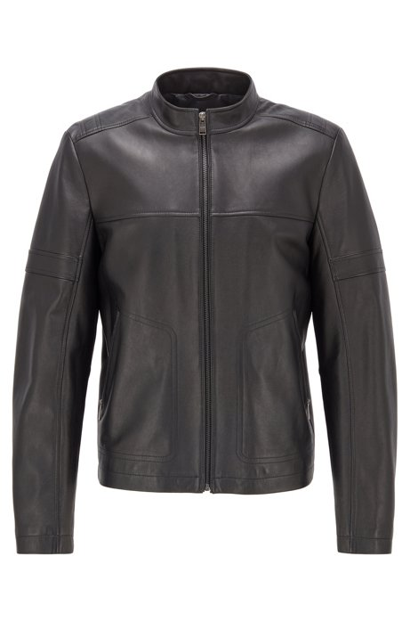 Regular-fit leather jacket in a blouson style, Black