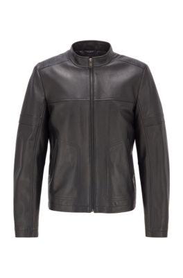 Regular-fit leren jas in blousonstijl, Zwart