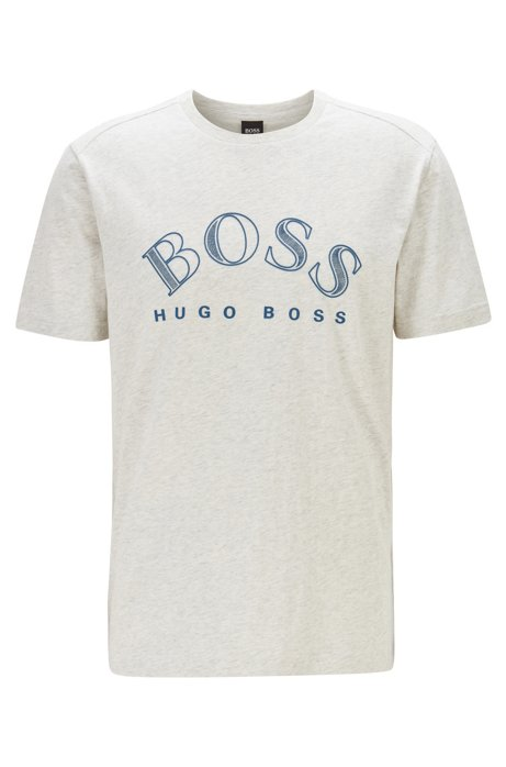Cotton-jersey T-shirt with curved-logo print, Light Grey