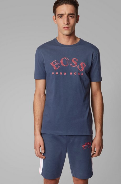 Cotton-jersey T-shirt with curved-logo print, Dark Blue