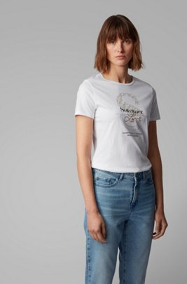 Cotton-jersey T-shirt with mixed-print collection graphic, White