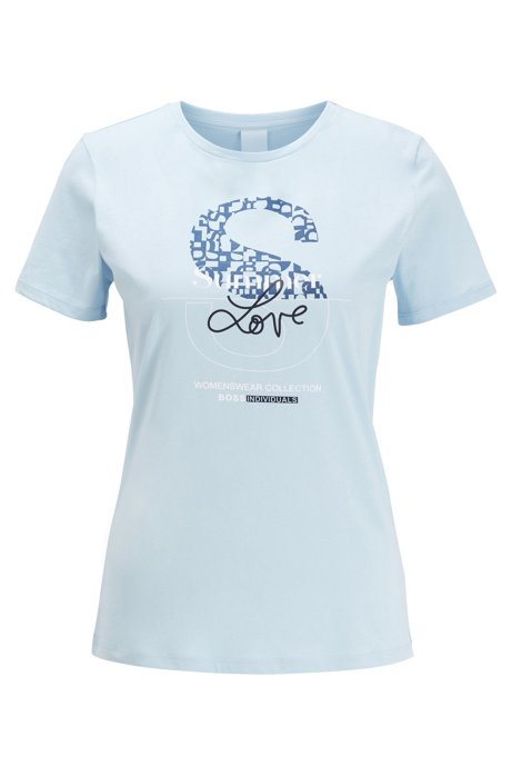 Cotton-jersey T-shirt with mixed-print collection graphic, Light Blue
