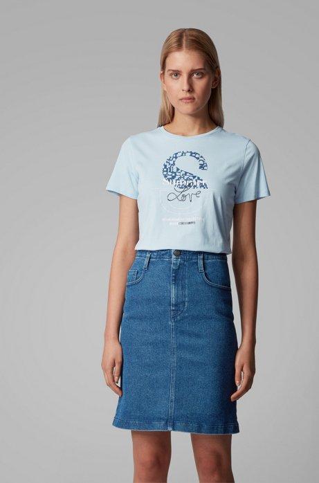Camiseta de punto de algodón con estampado gráfico mixto de la colección, Celeste