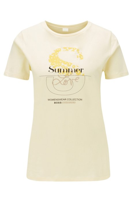 Cotton-jersey T-shirt with mixed-print collection graphic, Light Yellow