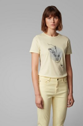 Washed-cotton T-shirt with abstract embroidered artwork, Light Yellow