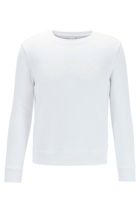 French-terry sweatshirt with mixed-print logo, White
