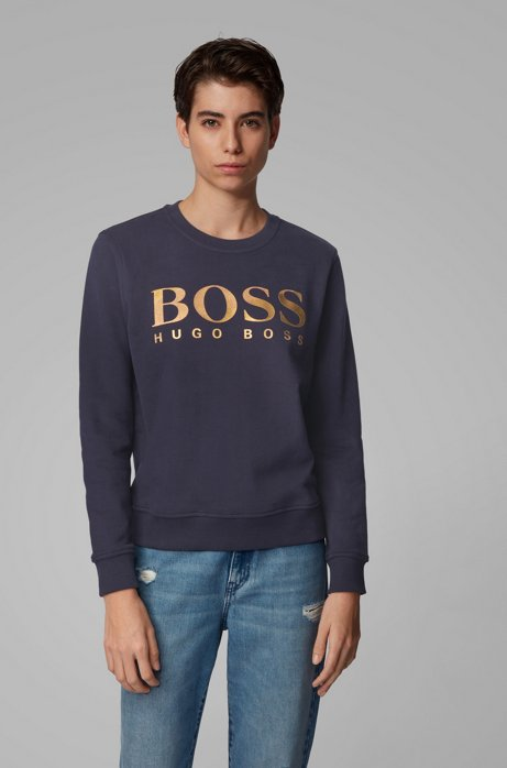 Sweater van sweatstof met gemengde logoprint, Donkerblauw