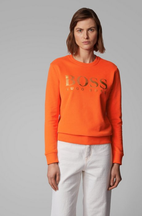 French-terry sweatshirt with mixed-print logo, Orange