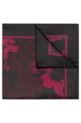 Einstecktuch aus reiner Seide mit Blumenprint und Logo, Gemustert