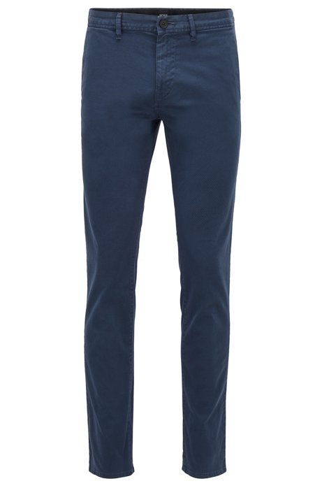 Slim-fit trousers in patterned stretch-cotton twill, Dark Blue