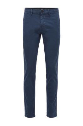Pantaloni slim fit in twill di cotone elasticizzato a motivi, Blu scuro