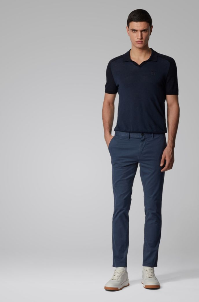 Pantalon Slim Fit en twill de coton stretch à motif